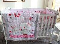 7ピースベビーベッド幼児ルーム子供赤ちゃんの寝室セット保育園寝具ピンクラビットベビーベッド寝具セット用新生児男の子