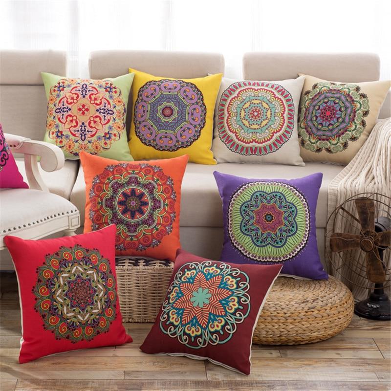 45x45cm Classic Flower Printed Bamboo Linen Cushion Cover Pillowcase Home Textiles Supplies Lumbar Pillow Decorative
