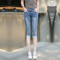 Calças de brim Mulher Real Meados De Algodão Xadrez de Verão 2016 Novos Coreano calças de Brim das Mulheres Por Atacado Personalidade Buraco Fino Calças Jeans Sete feminino