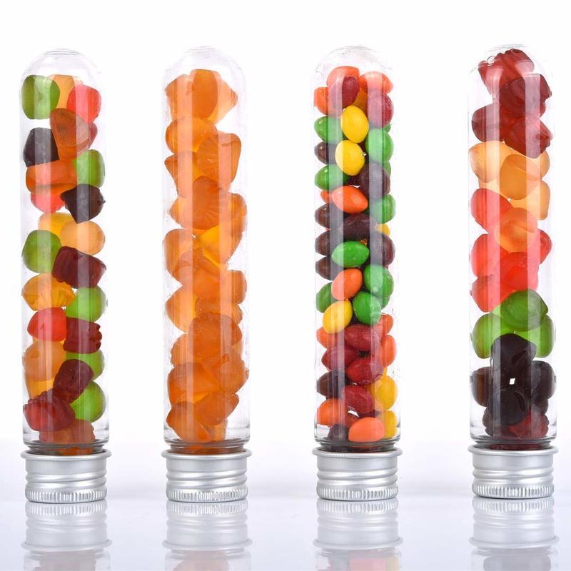 40ml Excellent Plastic Transparent Test Tubes With Aluminum CapS Bottles 25x140mm Party Favors Lab Supplies