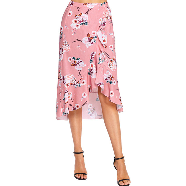 4790c088727c Summer Pleated Bohemian skirt with floral print Asymmetrical Midi-skirt  sexy wrapping paper skirt For women beach tight skirt