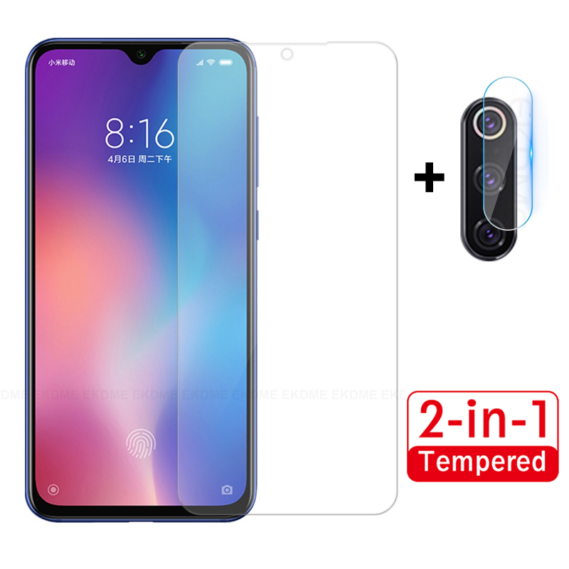 2 in 1 Screen <font><b>Protector</b></font> Glass For <font><b>Xiaomi</b></font> Mi A3 MiA3 Mi 9 SE Mi CC9E <font><b>Mi9</b></font> Clear Front Tempered Glass + Rear <font><b>Camera</b></font> Lens Soft Film image