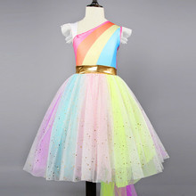 Fancy Dress for Girls Unicorn Party Dress up Kids Rainbow tutu Dresses for Girls Princess Girls Halloween Carnival Costume Wear fancy girl unicornio dresses princess girls cosplay dress up costume kids party tutu gown clothing for girls unicorn costume