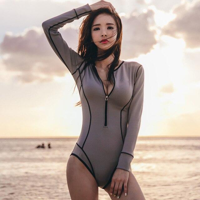 Wanita Lengan Panjang Ruam Penjaga UV UPF 50 + Perlindungan Matahari Ritsleting Cetak Surfing One Piece Swimsuit Baju Renang