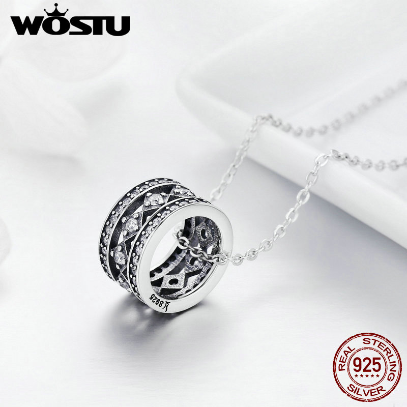 WOSTU 100% 925 Sterling Silver Vintage Fascination Pendant Necklace For Women Luxury High Quality Jewelry Gift For Lover FIN231 wostu 2018 luxury brand 925 sterling silver heart love pendant necklaces for women with aaa zircon jewelry gift for lover cqn025