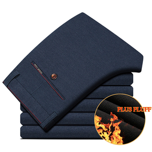 Image 3 - 2020 Winter New Men Warm Casual Pants Business Casual Elasticity Slim Thick Plus Velvet Trousers Male Brand Clothes Khaki Navy