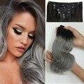 Седые человеческие волосы зажим в выдвижении 120 г/компл. ombre объемная волна 100% необработанные реми зажим в выдвижении волос серый белый женщины