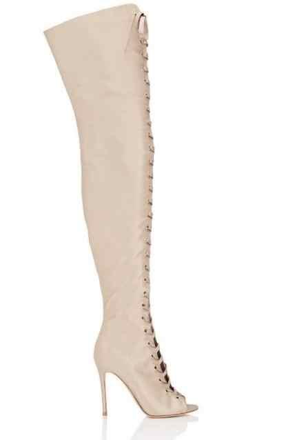 2017 Yeni Choudory Kadınlar Siyah Kırmızı Çıplak Ipek Gladyatör Keser Stiletto Topuk Diz Çizmeler Üzerinde Ince Uyluk Çizmeler artı Boyutu 42