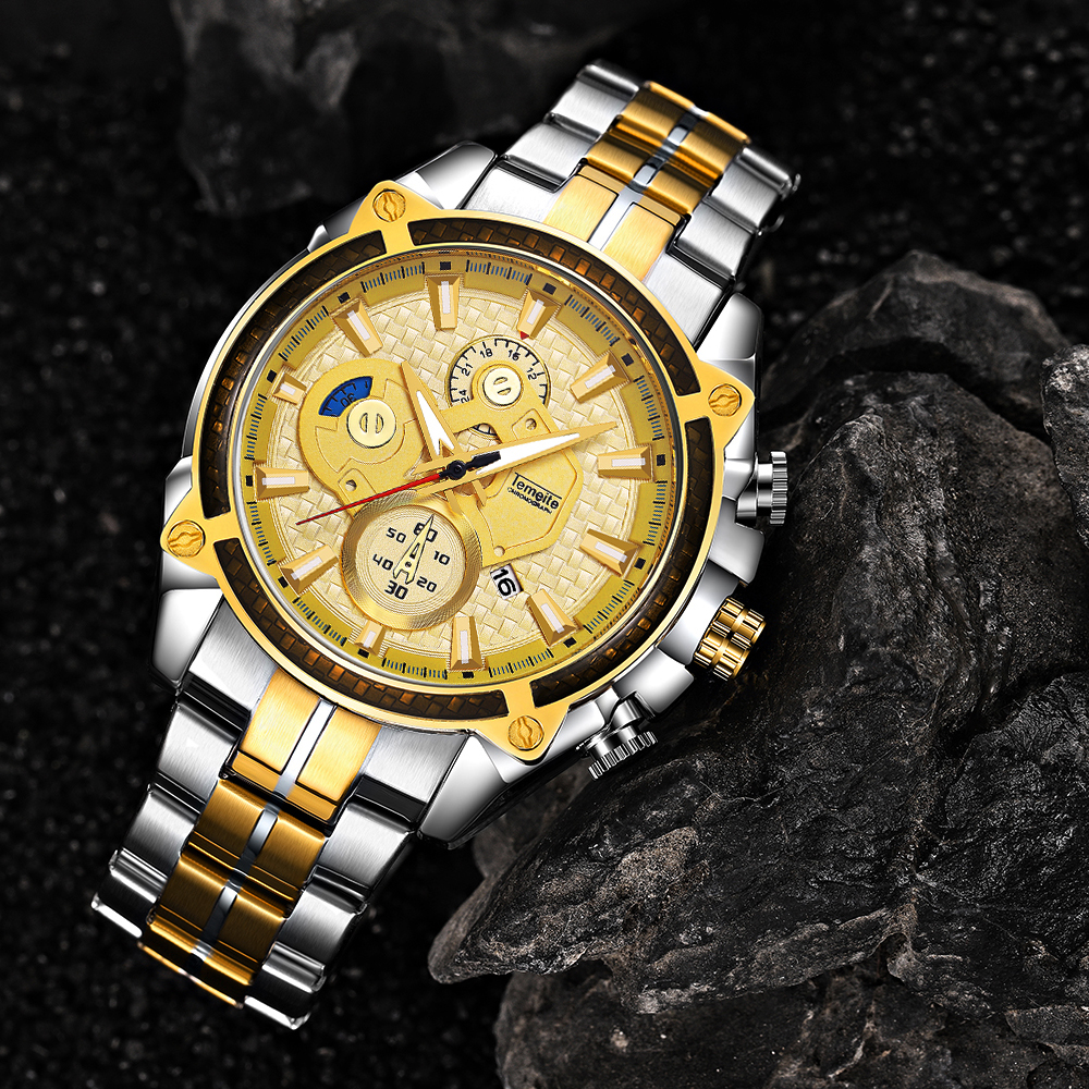Top Brand Luxury Golden Watches Men Stainless Steel Strap Fashion TEMEITE Waterproof Quartz Wristwatch Calendar Oversize Clock 20