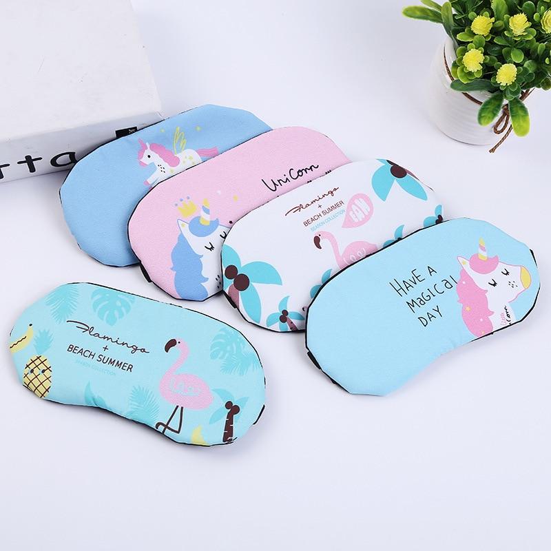1PC Cute Flamingo Unicorn Sleeping Mask Soft Padded Sleep Shade Cover Comfort Rest Relax Blindfold Sleeping Aid Eye Patch