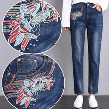Spring Autumn Women High Waist Jeans Woman Floral Embroidery Blue Denim Harem Pants Casual Loose Black Trousers spring and winter women cartoon embroidery high waist harem pants casual trousers loose jeans 2017 cute blue denim jeans fashion