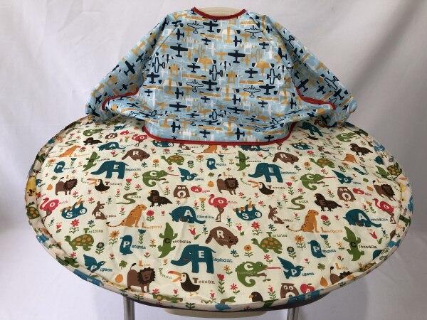 1 комплект-детское обеденное кресло с блюдцем Манхэттенский чехол для стульев и халаты для еды для младенцев и малышей - Цвет: cartoon and plane