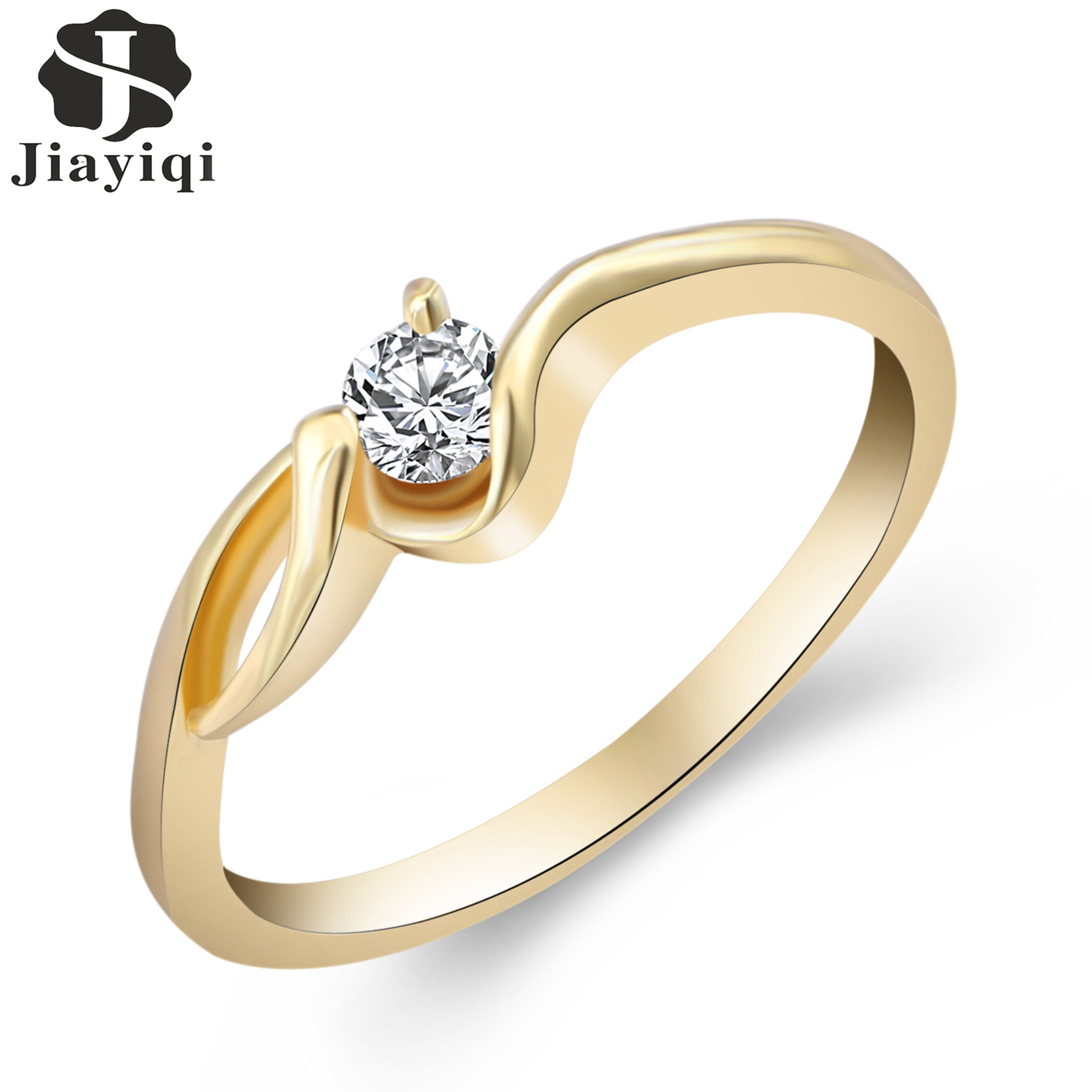 lady vintage rings gold color round cut white crystal cubic zirconia new engagement ring for women - Sell Wedding Ring