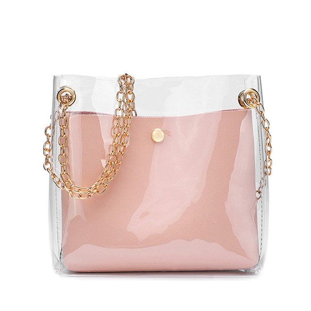 Women's Transparent Shoulder Bag with Metal Chain