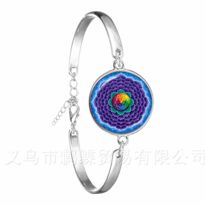 2018 คลาสสิก Lotus Mandala เครื่องประดับสร้อยข้อมือเล็บ Henna Om สัญลักษณ์ Zen พระพุทธรูป Retro Handmade ของขวัญโยคะสำหรับผู้หญิงหญิง