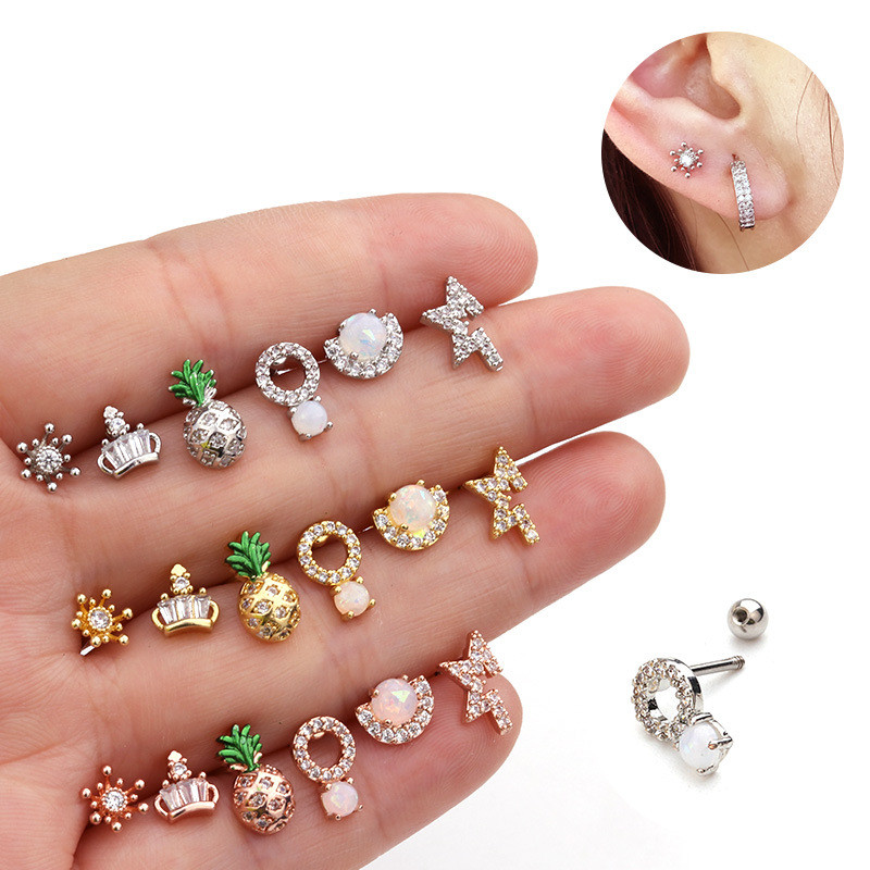 Ear Piercing Jewelry 1PC Stainless Steel Bar CZ Opal Pineapple Cartilage Helix Tragus Conch Rook Lobe Screw Back Earring Stud