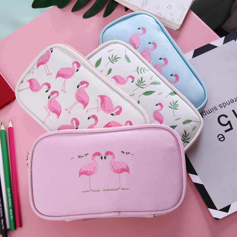 Cute Flamingo Pencil Case Kawaii Multifunction Pencil Bags Large Capacity Pen Box School Supplies Stationery Student Girl Gifts