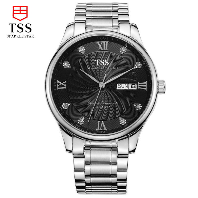 TSS master collection genuine Austrian diamonds men's watches fashion men's business watches diamond watch stainless steel master series trine steel c ring collection package of 4