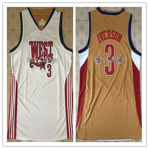 Rare Allen Iverson #3 West All Star Throwback hommes maillot de basket broderie cousu personnaliser n'importe quel nom numéro