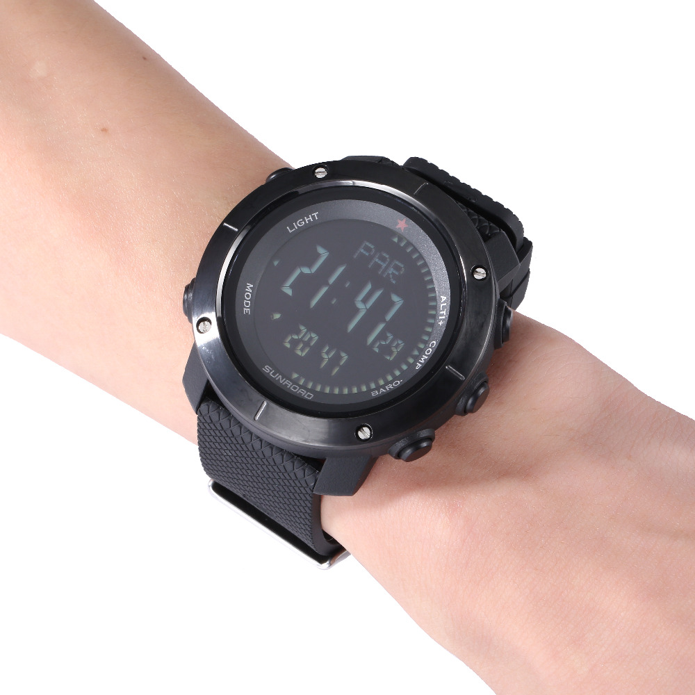 Men's Watches Sunroad New Men Heart Rate Watch Compass Pedometer Altimeter 5atm Waterproof Digital Clamping Charging Sports Watches Relogio Watches