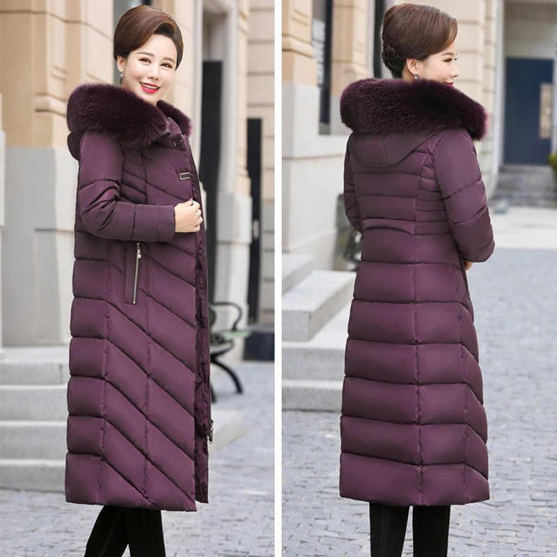 Lusumily новое зимнее пальто для женщин X-Long размера плюс 5XL толстый меховой воротник зимний пуховик для женщин длинные парки хлопковая верхняя одежда с капюшоном