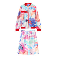 2018 new autumn and winter ladies suit abstract pattern free casual fashion art suit girl jacket + skirt