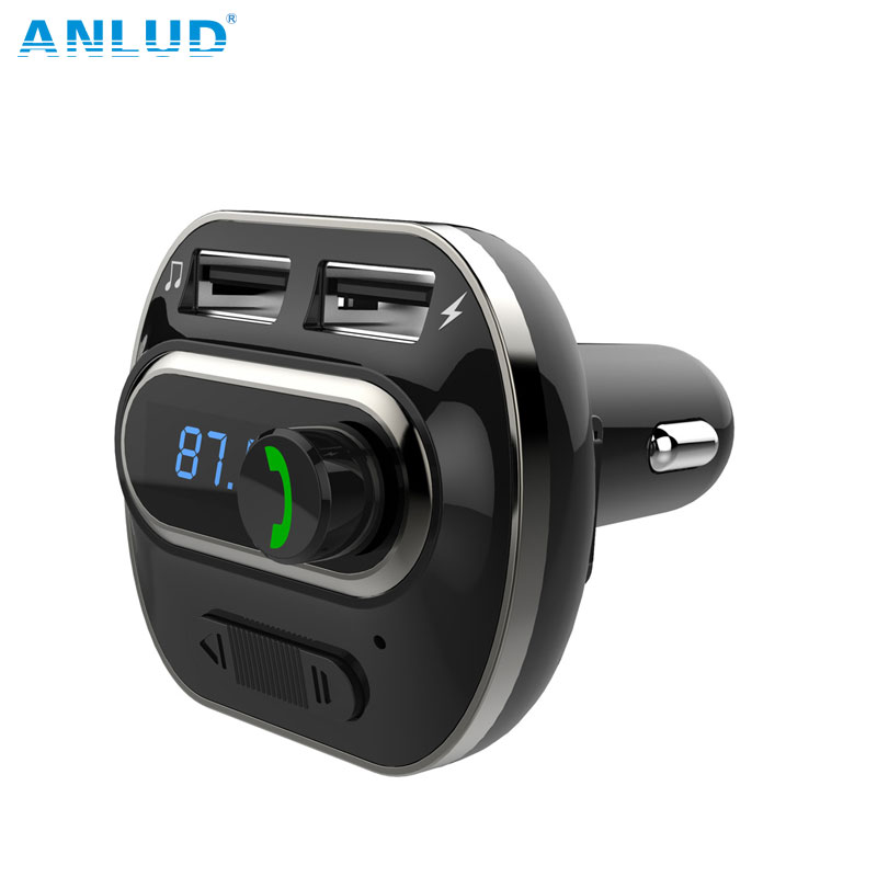 Bluetooth FM Transmitter Wireless In-Car Radio Transmitter Adapter Car Kit Universal Car Charger with Dual USB Charging Ports