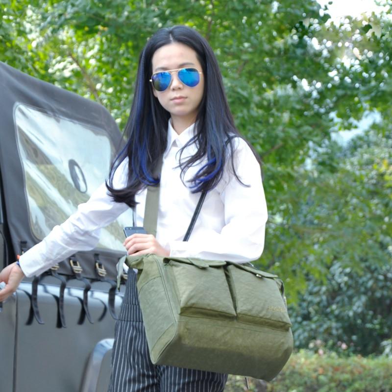 नई ठोस रंग सेना हरी डायपर बैग प्रसूति माँ हैंडबैग मैसेंजर कंधे बहुविध माँ घुमक्कड़ बैग बच्चे