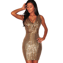 new womens hot stamping dress sexy nightclub gold glitter silver