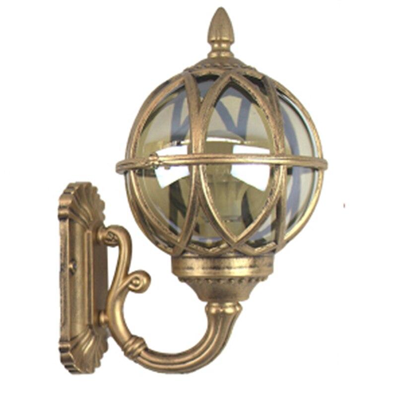 European Retro Wall Light Fixture Outdoor Waterproof Glass Globe Garden Lamp Metal Lantern for Staircase Balcony Villa Bedside