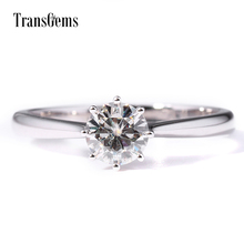 TransGems 0.8 Carat Lab Grown Moissanite Diamond Solitaire Wedding Ring Solid 14K White Gold Promise Band for Women