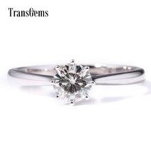 Transgems 14 k לבן זהב 0.8 קרט קוטר 6mm F צבע Moissanite אירוסין טבעת עבור נשים Solitare