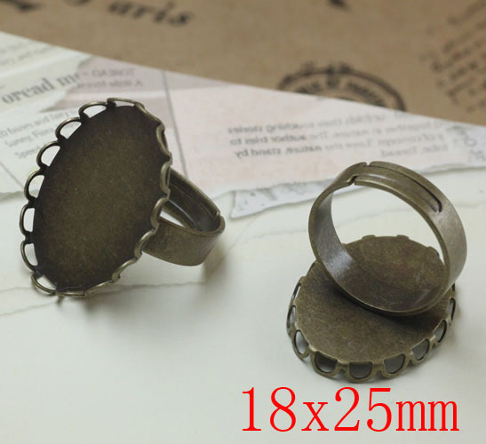 100pcs Antique Brass Pad Open Adjustable RING Lacework Oval Base Cabochon Size:18x25mm