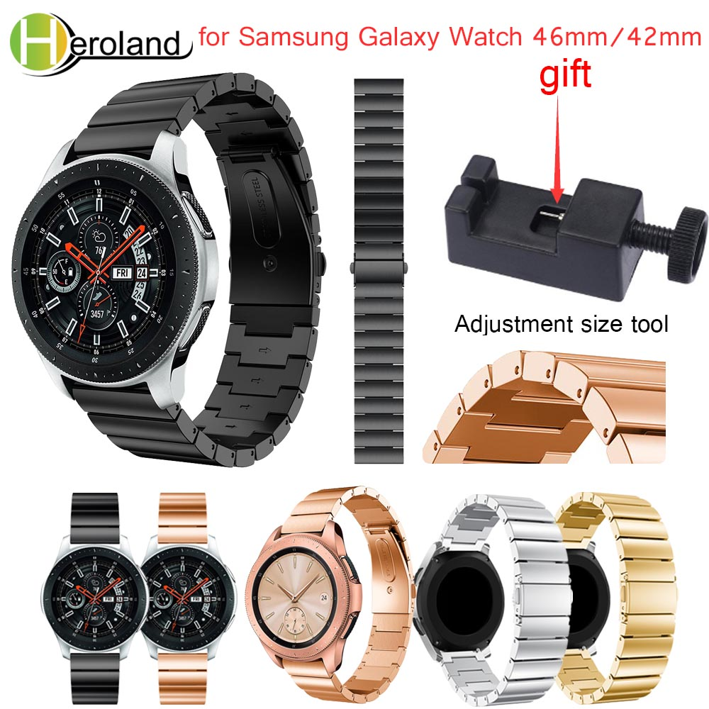 Luxury Stainless steel smart watchband strap 2018 new for Samsung Galaxy Watch 46mm/42mm Wristband metal Replacemet With tool цена