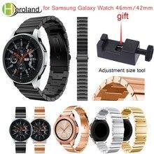 Купить с кэшбэком Luxury  Stainless steel smart watchband strap 2018 new for Samsung Galaxy Watch 46mm/42mm Wristband metal Replacemet With tool