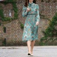 2018 Lente Zomer Nieuwe vrouwen jurk een lijn groene bloemen gedrukt elegante elastische slanke taille vintage midi jurken