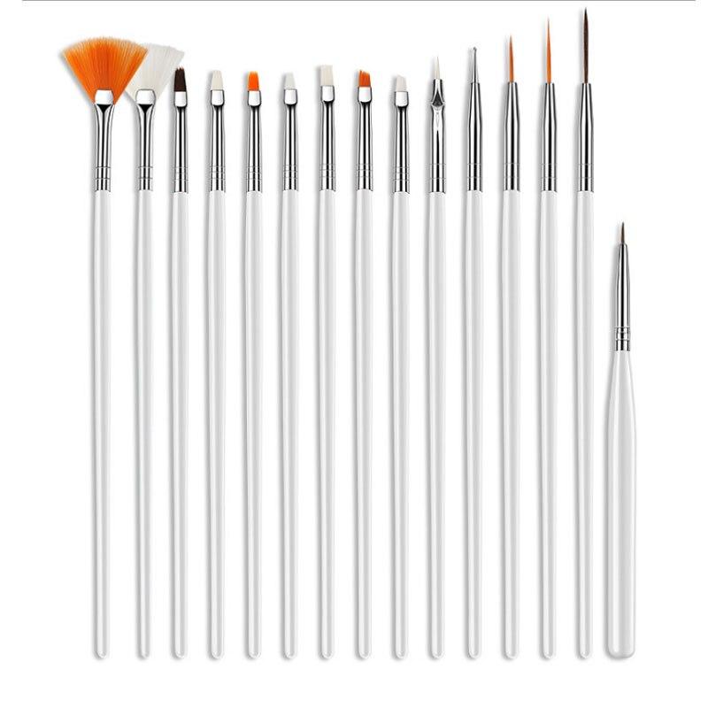 15 stücke Profi UV Gel Acryl Nail art Pinsel Set Design Gel Polnischen Malerei Zeichnung Stift Maniküre Nägel Tipps Werkzeuge neue Kit