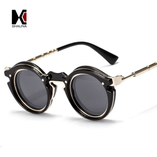 d9923c27a SHAUNA Steampunk Óculos De Sol Da Marca Designer Retro Mulheres Rodada Do  Punk Do Vintage Homens