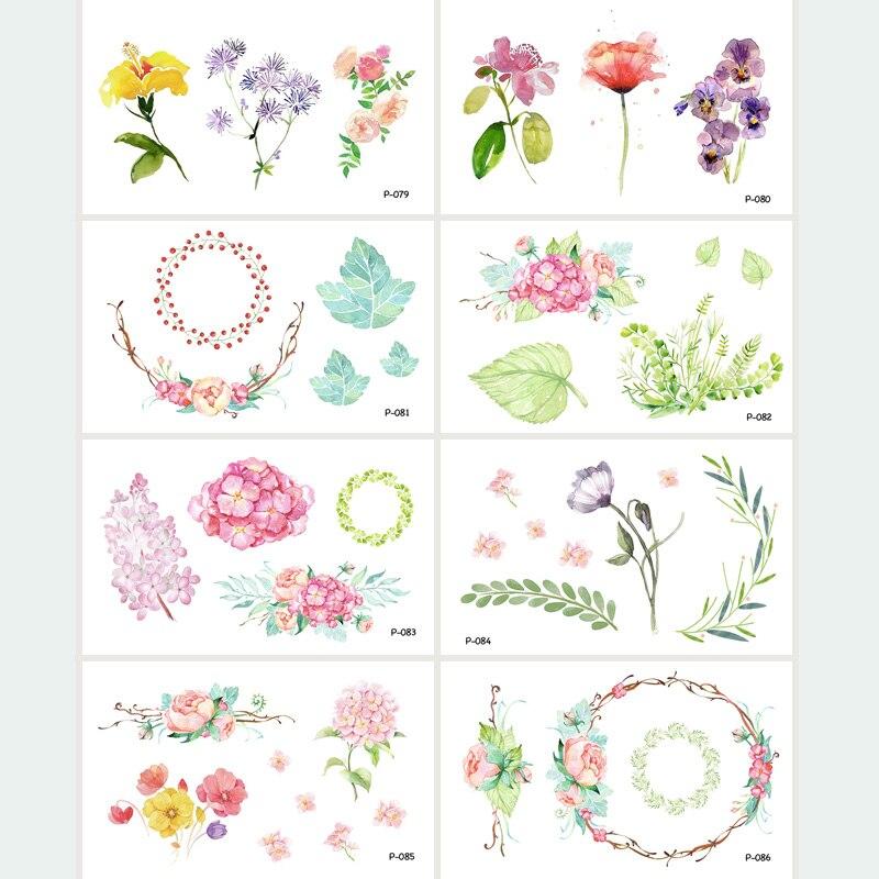 Wyuen 8 Teile Los Neue Design Blume Serie Gefalschte Tattoo Blatt