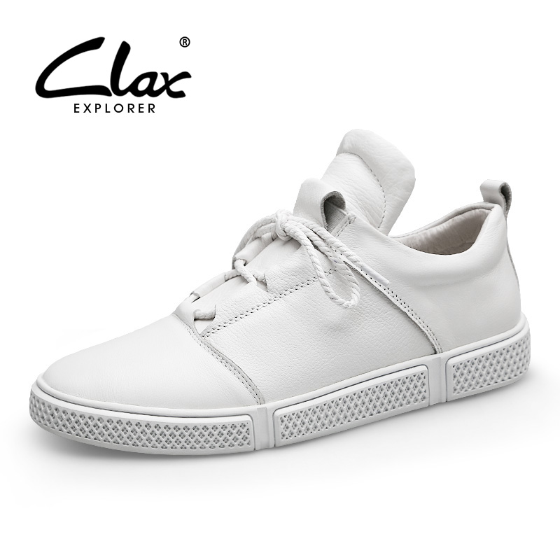 CLAX Men Leather Shoes Genuine Leather Spring Autumn Casual Shoe Male Sneakers White Fashion Walking Footwear
