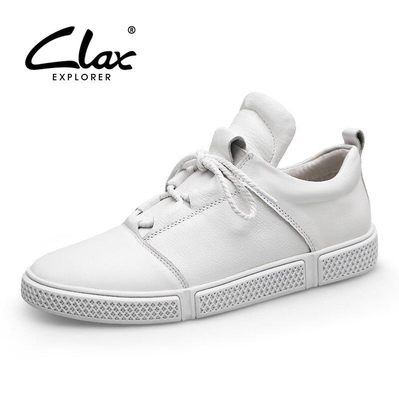 CLAX الرجال أحذية من الجلد جلد طبيعي الربيع الخريف حذاء كاجوال الذكور رياضية الأبيض الأزياء المشي الأحذية chaussure أوم-في أحذية رجالية غير رسمية من أحذية على  مجموعة 1