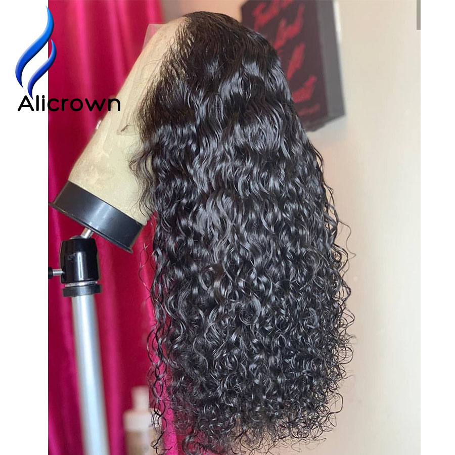ALICROWN 13 6 Deep Part Curly Brazilian Lace Front Human Hair Wigs With Baby Hair Remy