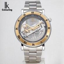 Coloración IK marca reloj mecánico hueco, vestido de moda Casual impermeable reloj, correa de cuero de los hombres relojes deportivos