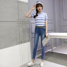 Молодые девушки в весной и осенью новые упругие талии джинсы джинсы брюки Харен студенты отдых