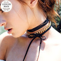 Long Black Leather Chokers Necklaces For Women Gold/Silver Plated Body Chains Chocker Necklace Statement Collares Largos F6287