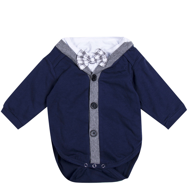 2pcs Newborn Baby Boy Gentleman Bow Cardigans Sweatshirt Coat+Long Sleeve Romper 2017 New Jumpsuit Outfit Baby Boy Clothes 0-18M