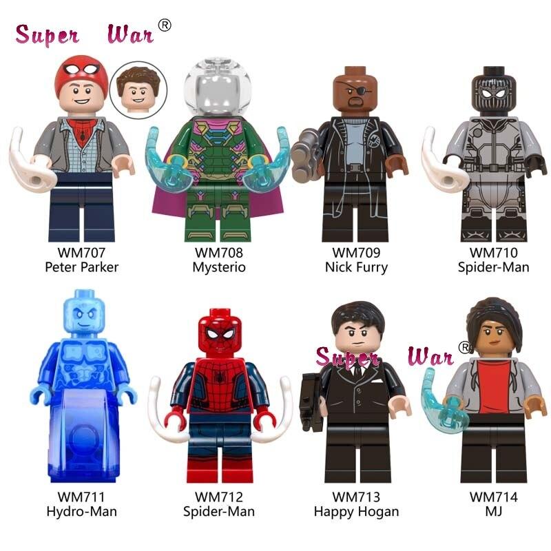 50pcs Marvel Spider man Far from home Mysterio Happy Hogan Hydro Spiderman Nick Furry building block