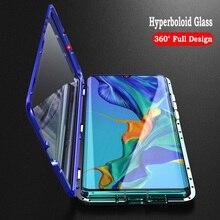 Магнитная Крышка для тела для huawei P30 Pro Чехол прозрачный роскошный Алюминий металла с уровнем твердости 9 H стеклянный магнит чехол для huawei P30 360 Защитная крышка