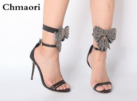 Femmes Mode Sandales Cuir Mince Dames Verni Talons À Bretelles Noir UpqMVLzGS