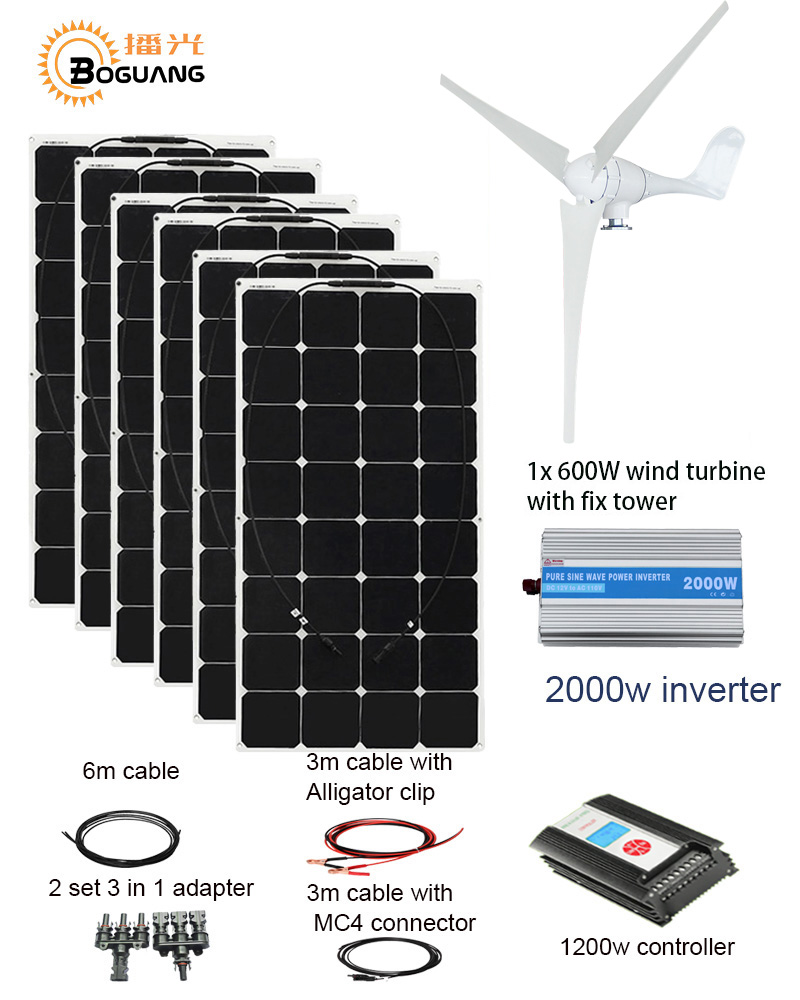 BOGUANG 600W Wind Turbines 600W Solar Hybrid system DIY kit solar panel home house wind generator controller turbine battery wind and solar hybrid controller 600w with lcd display charge controller for 600w wind turbine and 300w solar panel 12v 24v